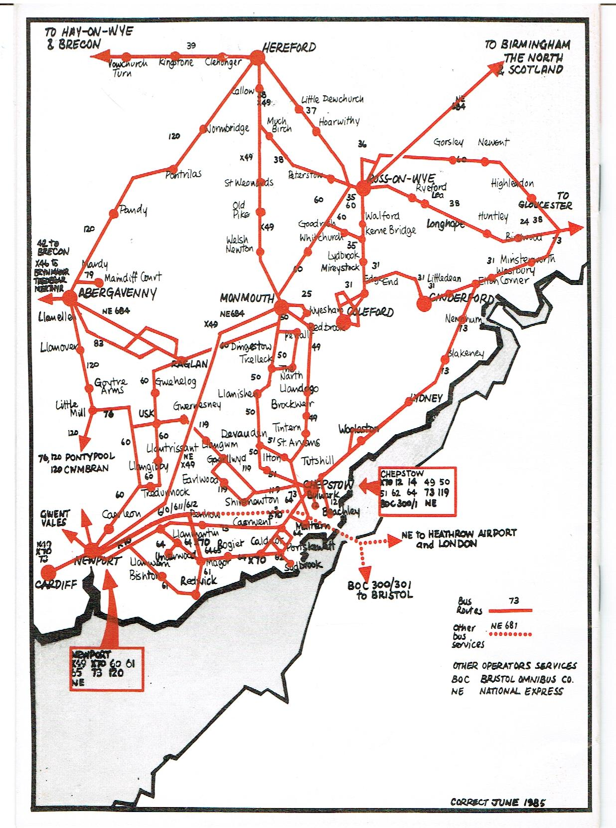 Image for Red & White Bus Times - Lower Wye Valley and Royal Forest of Dean - June 1985